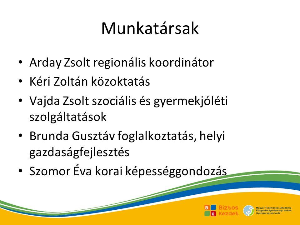 Munkatársak Arday Zsolt regionális koordinátor Kéri Zoltán közoktatás Vajda Zsolt szociális és gyermekjóléti szolgáltatások Brunda Gusztáv foglalkoztatás, helyi gazdaságfejlesztés Szomor Éva korai képességgondozás