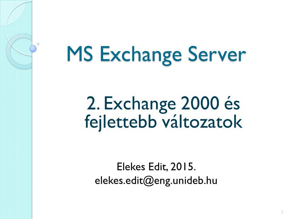 MS Exchange Server 2. Exchange 2000 és fejlettebb változatok Elekes Edit, 2015.