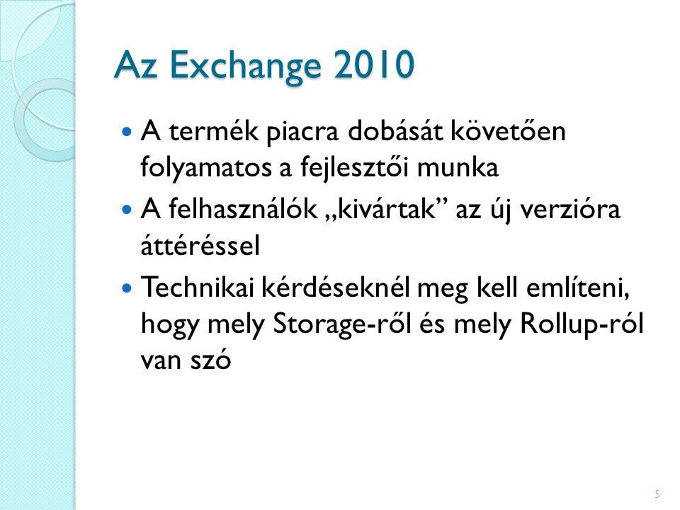 """Az Exchange 2010 A termék piacra dobását követően folyamatos a fejlesztői munka A felhasználók """"kivártak az új verzióra áttéréssel Technikai kérdéseknél meg kell említeni, hogy mely Storage-ről és mely Rollup-ról van szó 5"""