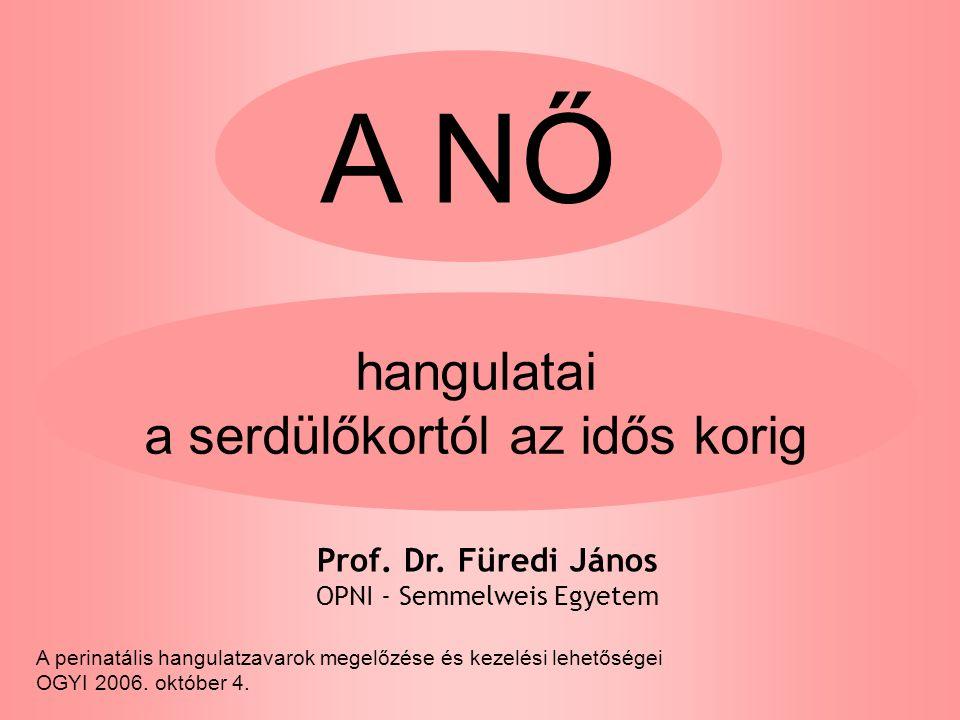 A NŐ hangulatai a serdülőkortól az idős korig Prof.