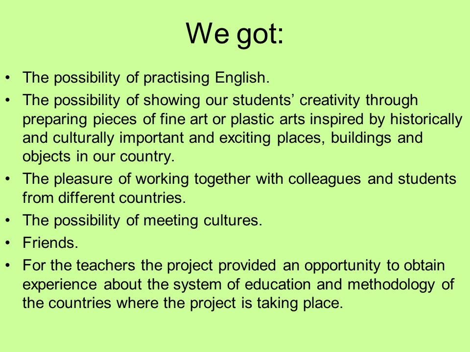 We got: The possibility of practising English. The possibility of showing our students' creativity through preparing pieces of fine art or plastic art