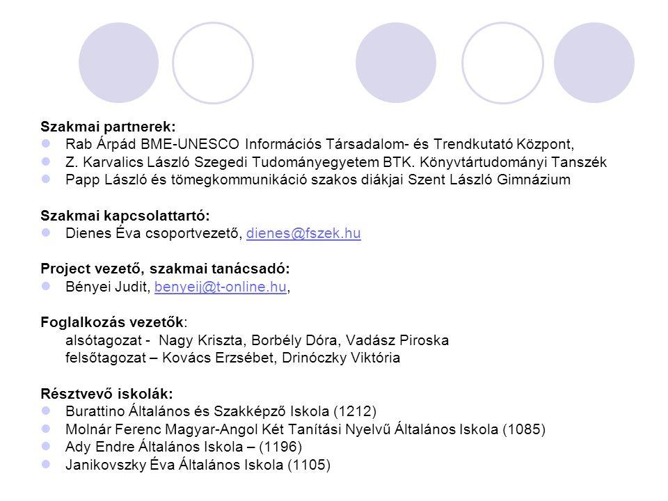 Szakmai partnerek: Rab Árpád BME-UNESCO Információs Társadalom- és Trendkutató Központ, Z. Karvalics László Szegedi Tudományegyetem BTK. Könyvtártudom