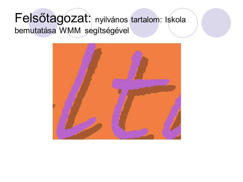 Felsőtagozat: nyilvános tartalom: Iskola bemutatása WMM segítségével