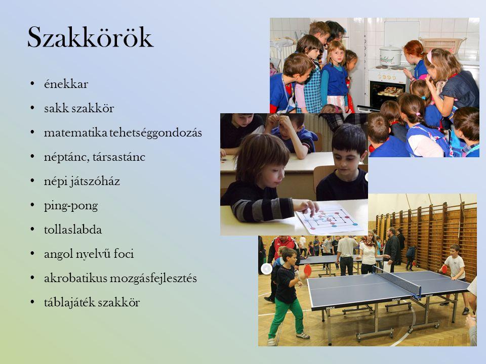 Szakkörök énekkar sakk szakkör matematika tehetséggondozás néptánc, társastánc népi játszóház ping-pong tollaslabda angol nyelv ű foci akrobatikus mozgásfejlesztés táblajáték szakkör