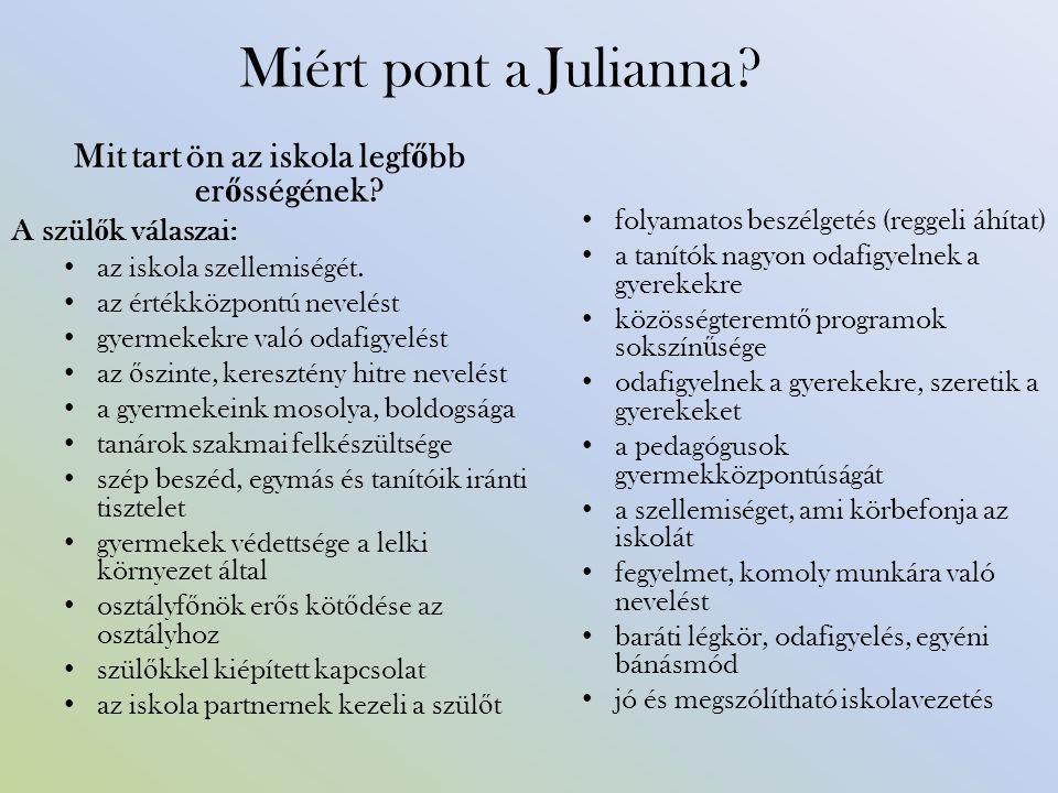 Miért pont a Julianna. Mit tart ön az iskola legf ő bb er ő sségének.