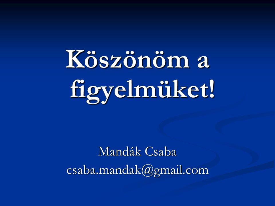 Köszönöm a figyelmüket! Mandák Csaba csaba.mandak@gmail.com