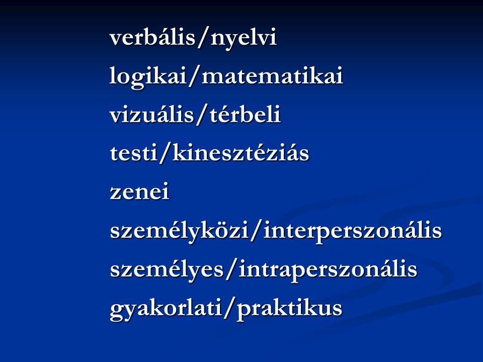 verbális/nyelvilogikai/matematikaivizuális/térbelitesti/kinesztéziászeneiszemélyközi/interperszonálisszemélyes/intraperszonálisgyakorlati/praktikus