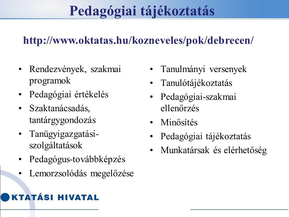 Pedagógiai tájékoztatás Rendezvények, szakmai programok Pedagógiai értékelés Szaktanácsadás, tantárgygondozás Tanügyigazgatási- szolgáltatások Pedagógus-továbbképzés Lemorzsolódás megelőzése Tanulmányi versenyek Tanulótájékoztatás Pedagógiai-szakmai ellenőrzés Minősítés Pedagógiai tájékoztatás Munkatársak és elérhetőség http://www.oktatas.hu/kozneveles/pok/debrecen/