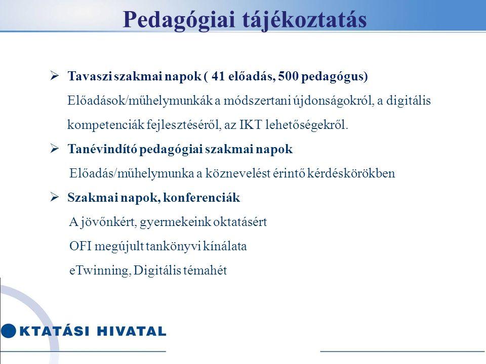 Pedagógiai tájékoztatás  Tavaszi szakmai napok ( 41 előadás, 500 pedagógus) Előadások/műhelymunkák a módszertani újdonságokról, a digitális kompetenciák fejlesztéséről, az IKT lehetőségekről.