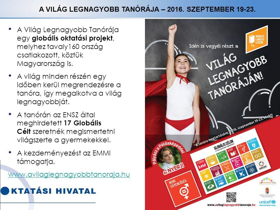 A VILÁG LEGNAGYOBB TANÓRÁJA – 2016. SZEPTEMBER 19-23.