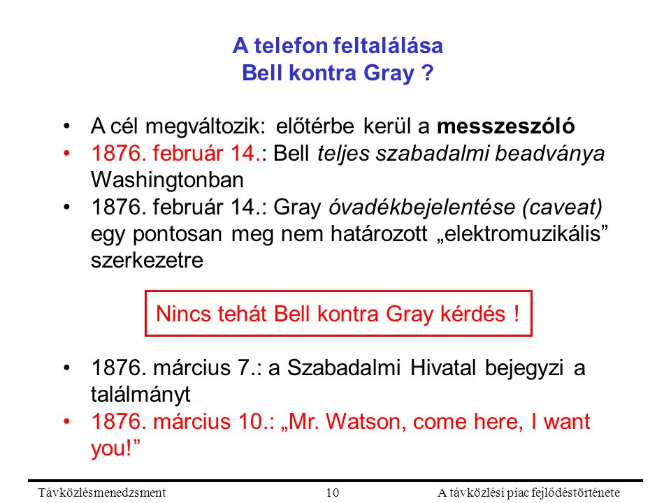 TávközlésmenedzsmentA távközlési piac fejlődéstörténete10 A telefon feltalálása Bell kontra Gray ? A cél megváltozik: előtérbe kerül a messzeszóló 187