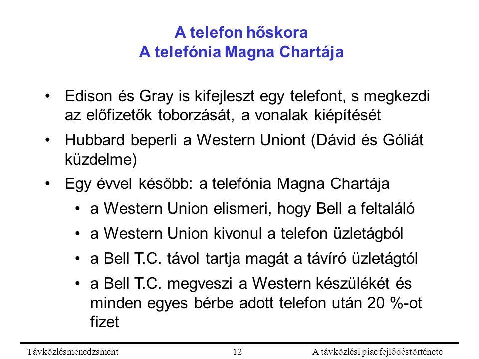 TávközlésmenedzsmentA távközlési piac fejlődéstörténete12 A telefon hőskora A telefónia Magna Chartája Edison és Gray is kifejleszt egy telefont, s megkezdi az előfizetők toborzását, a vonalak kiépítését Hubbard beperli a Western Uniont (Dávid és Góliát küzdelme) Egy évvel később: a telefónia Magna Chartája a Western Union elismeri, hogy Bell a feltaláló a Western Union kivonul a telefon üzletágból a Bell T.C.