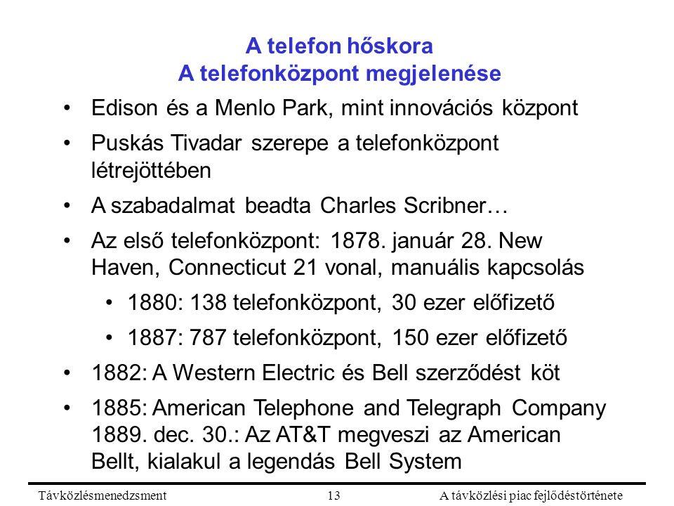 TávközlésmenedzsmentA távközlési piac fejlődéstörténete13 A telefon hőskora A telefonközpont megjelenése Edison és a Menlo Park, mint innovációs központ Puskás Tivadar szerepe a telefonközpont létrejöttében A szabadalmat beadta Charles Scribner… Az első telefonközpont: 1878.