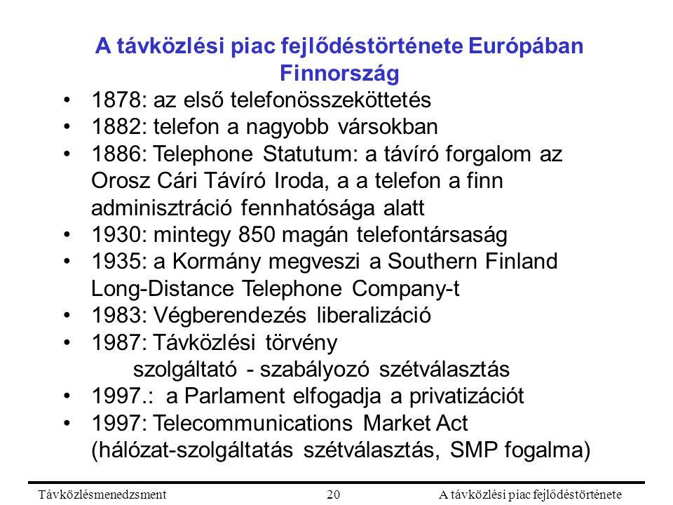 TávközlésmenedzsmentA távközlési piac fejlődéstörténete20 A távközlési piac fejlődéstörténete Európában Finnország 1878: az első telefonösszeköttetés