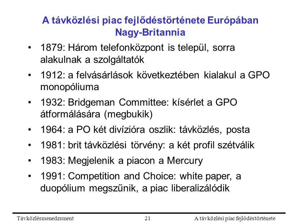TávközlésmenedzsmentA távközlési piac fejlődéstörténete21 A távközlési piac fejlődéstörténete Európában Nagy-Britannia 1879: Három telefonközpont is települ, sorra alakulnak a szolgáltatók 1912: a felvásárlások következtében kialakul a GPO monopóliuma 1932: Bridgeman Committee: kísérlet a GPO átformálására (megbukik) 1964: a PO két divízióra oszlik: távközlés, posta 1981: brit távközlési törvény: a két profil szétválik 1983: Megjelenik a piacon a Mercury 1991: Competition and Choice: white paper, a duopólium megszűnik, a piac liberalizálódik