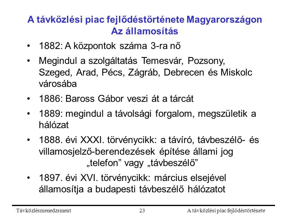 TávközlésmenedzsmentA távközlési piac fejlődéstörténete23 A távközlési piac fejlődéstörténete Magyarországon Az államosítás 1882: A központok száma 3-ra nő Megindul a szolgáltatás Temesvár, Pozsony, Szeged, Arad, Pécs, Zágráb, Debrecen és Miskolc városába 1886: Baross Gábor veszi át a tárcát 1889: megindul a távolsági forgalom, megszületik a hálózat 1888.