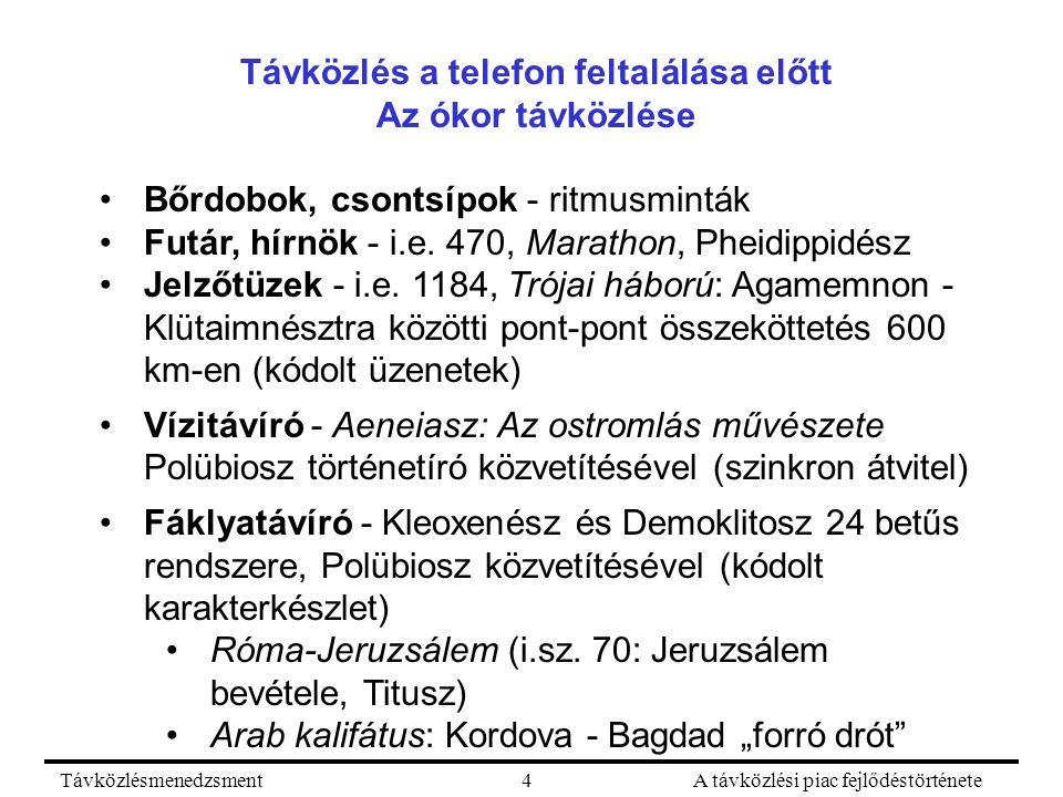 TávközlésmenedzsmentA távközlési piac fejlődéstörténete4 Távközlés a telefon feltalálása előtt Az ókor távközlése Bőrdobok, csontsípok - ritmusminták Futár, hírnök - i.e.