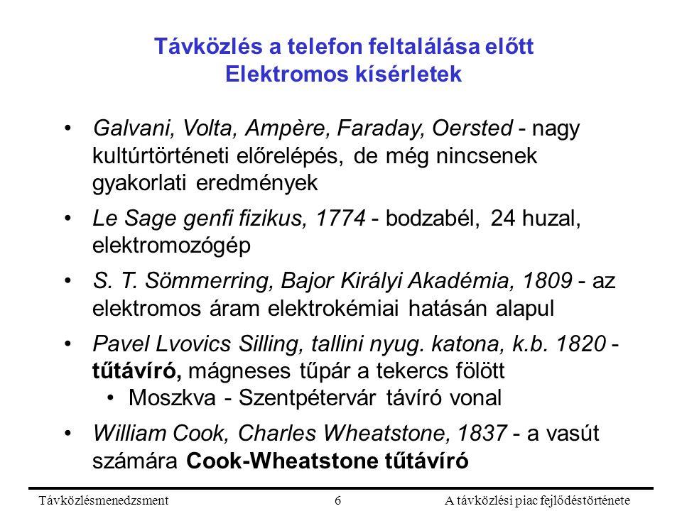 TávközlésmenedzsmentA távközlési piac fejlődéstörténete6 Távközlés a telefon feltalálása előtt Elektromos kísérletek Galvani, Volta, Ampère, Faraday, Oersted - nagy kultúrtörténeti előrelépés, de még nincsenek gyakorlati eredmények Le Sage genfi fizikus, 1774 - bodzabél, 24 huzal, elektromozógép S.
