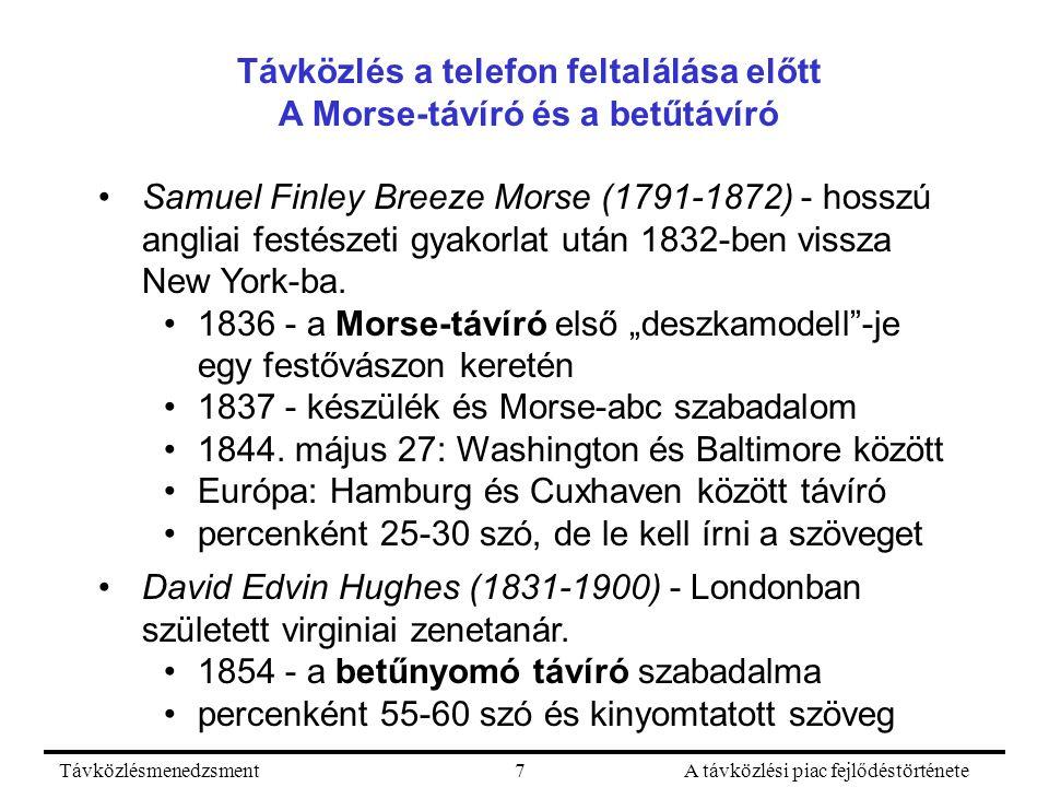 TávközlésmenedzsmentA távközlési piac fejlődéstörténete7 Távközlés a telefon feltalálása előtt A Morse-távíró és a betűtávíró Samuel Finley Breeze Mor
