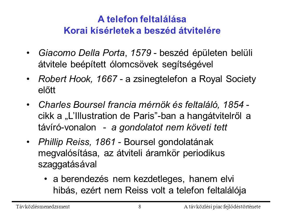 """TávközlésmenedzsmentA távközlési piac fejlődéstörténete8 A telefon feltalálása Korai kísérletek a beszéd átvitelére Giacomo Della Porta, 1579 - beszéd épületen belüli átvitele beépített ólomcsövek segítségével Robert Hook, 1667 - a zsinegtelefon a Royal Society előtt Charles Boursel francia mérnök és feltaláló, 1854 - cikk a """"L'Illustration de Paris -ban a hangátvitelről a távíró-vonalon - a gondolatot nem követi tett Phillip Reiss, 1861 - Boursel gondolatának megvalósítása, az átviteli áramkör periodikus szaggatásával a berendezés nem kezdetleges, hanem elvi hibás, ezért nem Reiss volt a telefon feltalálója"""