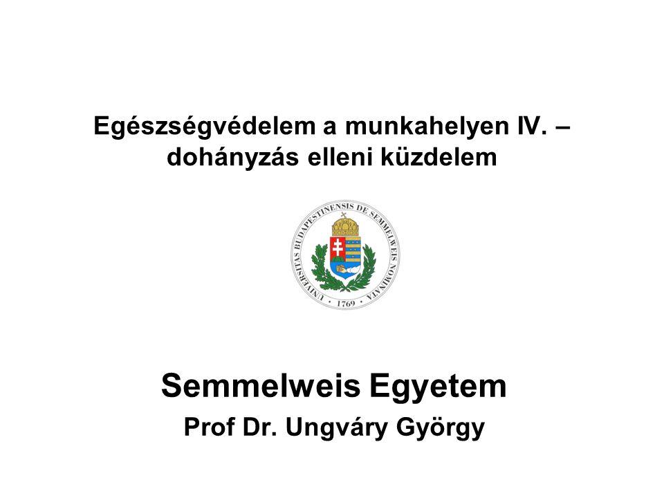 Egészségvédelem a munkahelyen IV. – dohányzás elleni küzdelem Semmelweis Egyetem Prof Dr.