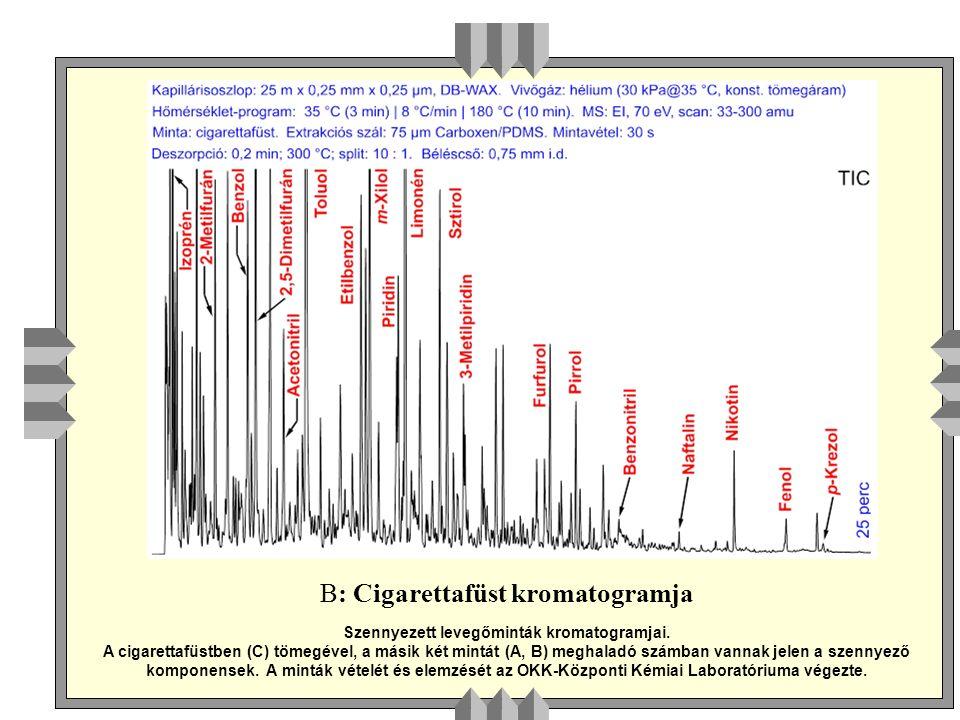 B: Cigarettafüst kromatogramja Szennyezett levegőminták kromatogramjai.