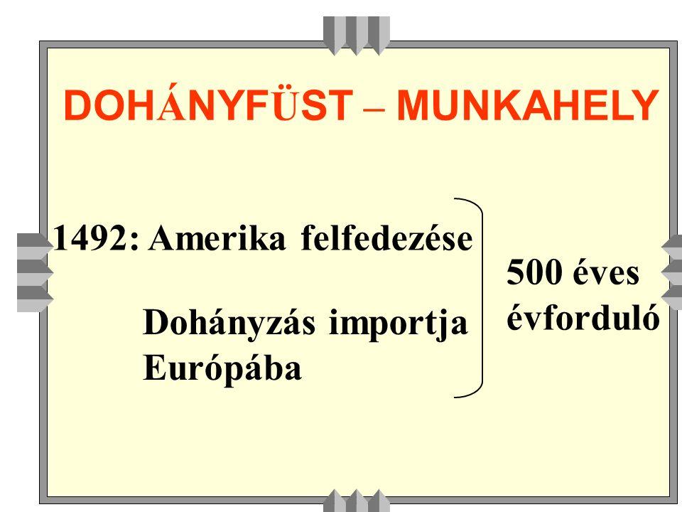 DOH Á NYF Ü ST – MUNKAHELY 1492: Amerika felfedezése Dohányzás importja Európába 500 éves évforduló