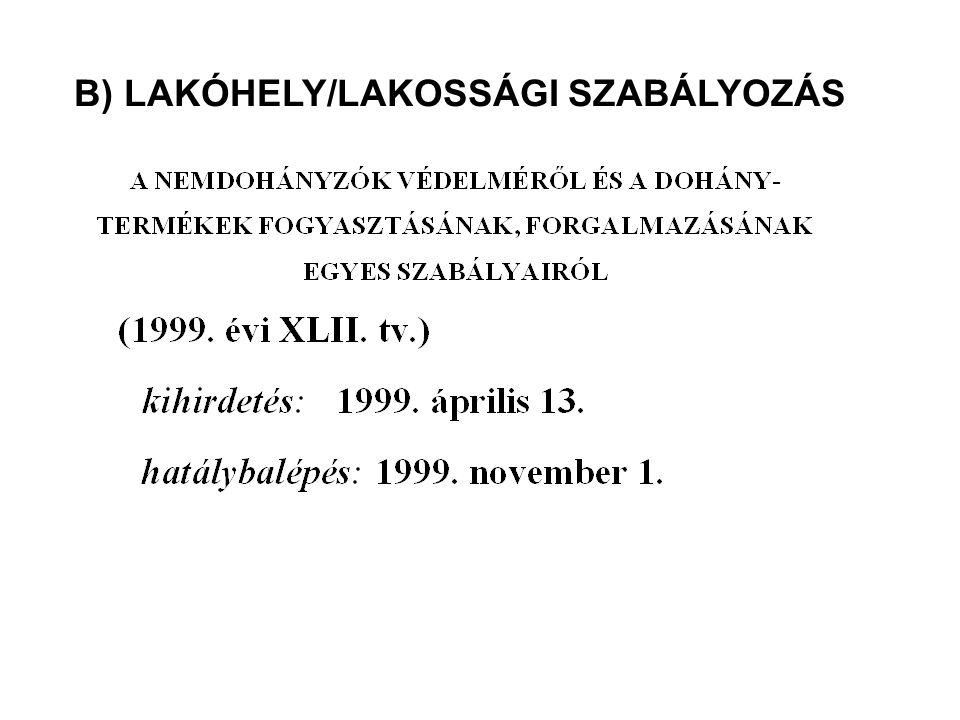 B) LAKÓHELY/LAKOSSÁGI SZABÁLYOZÁS
