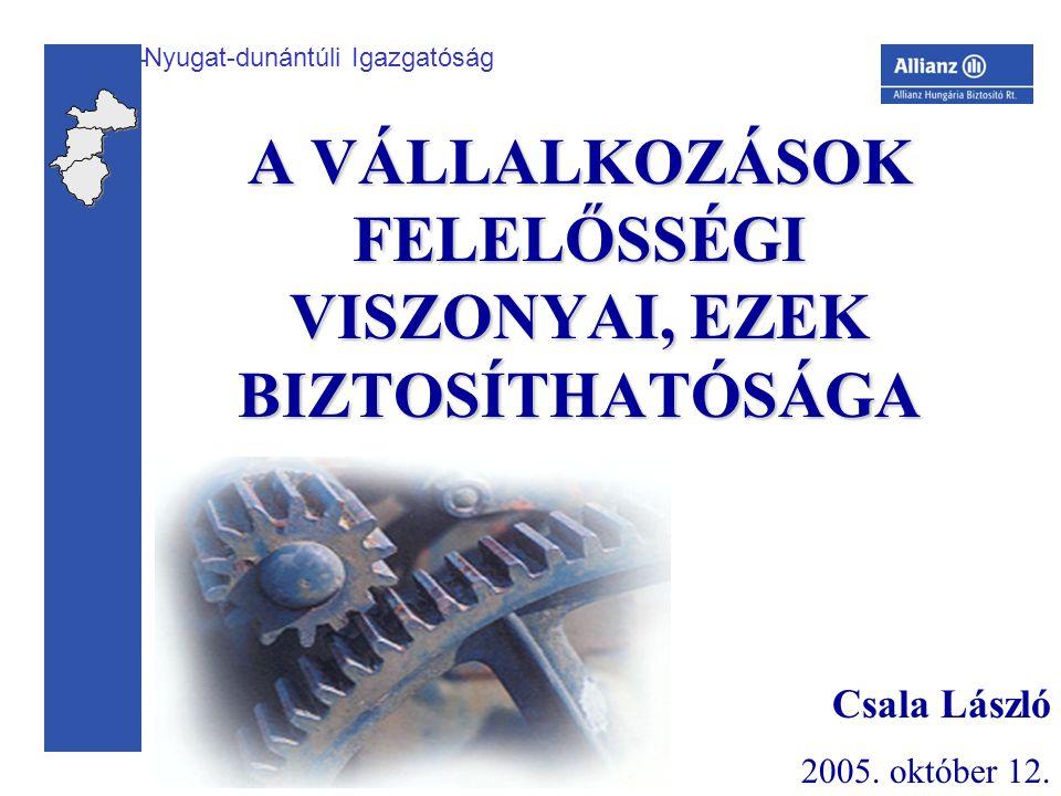 Nyugat-dunántúli Igazgatóság A VÁLLALKOZÁSOK FELELŐSSÉGI VISZONYAI, EZEK BIZTOSÍTHATÓSÁGA Csala László 2005.