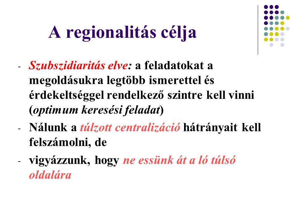 A regionalitás célja - Szubszidiaritás elve: a feladatokat a megoldásukra legtöbb ismerettel és érdekeltséggel rendelkező szintre kell vinni (optimum keresési feladat) - Nálunk a túlzott centralizáció hátrányait kell felszámolni, de - vigyázzunk, hogy ne essünk át a ló túlsó oldalára