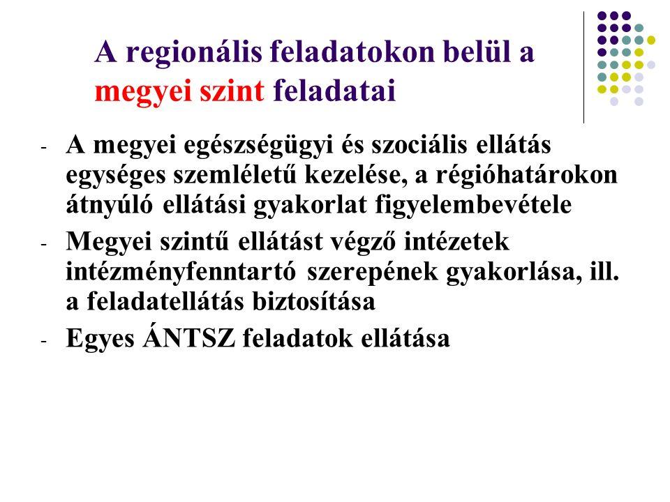 A regionális feladatokon belül a megyei szint feladatai - A megyei egészségügyi és szociális ellátás egységes szemléletű kezelése, a régióhatárokon át