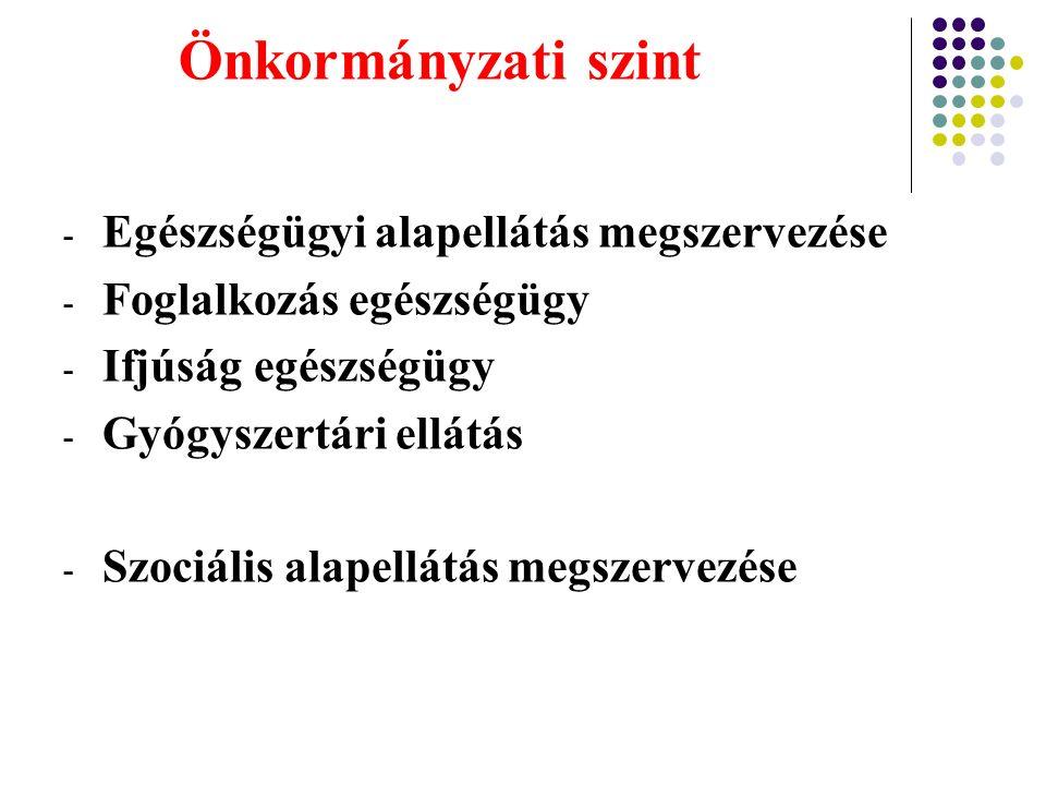 Önkormányzati szint - Egészségügyi alapellátás megszervezése - Foglalkozás egészségügy - Ifjúság egészségügy - Gyógyszertári ellátás - Szociális alape