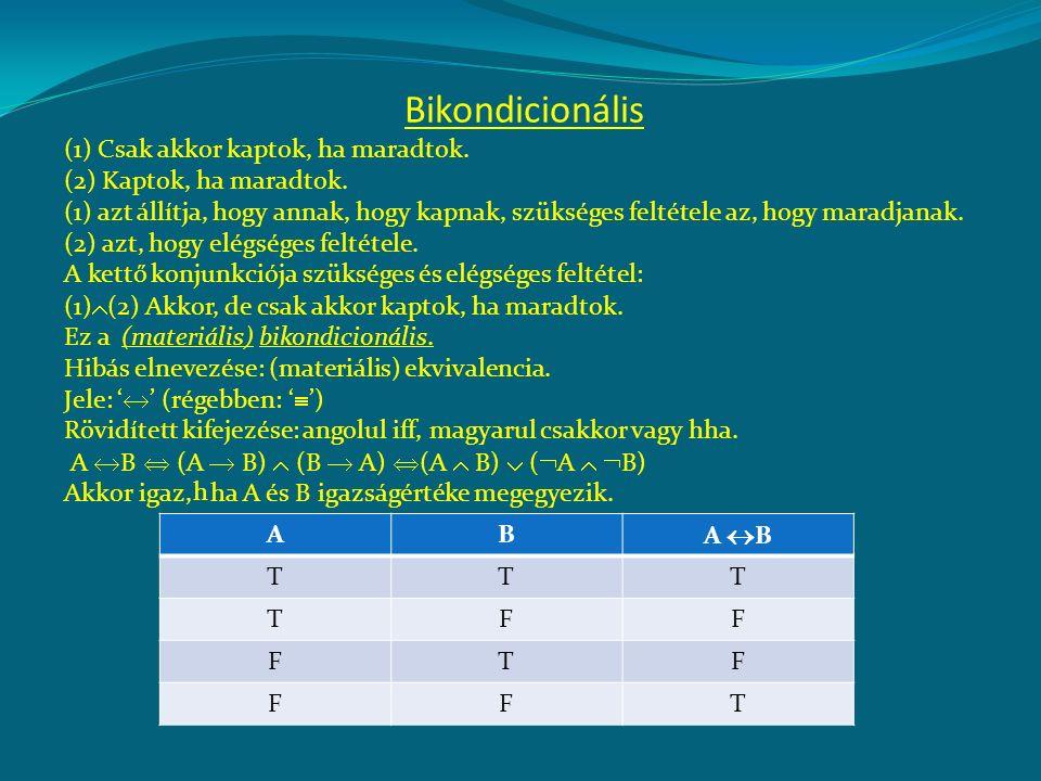 A bikondicionális negációja:  (A  B) akkor igaz, ha A és B igazságértéke különbözik.
