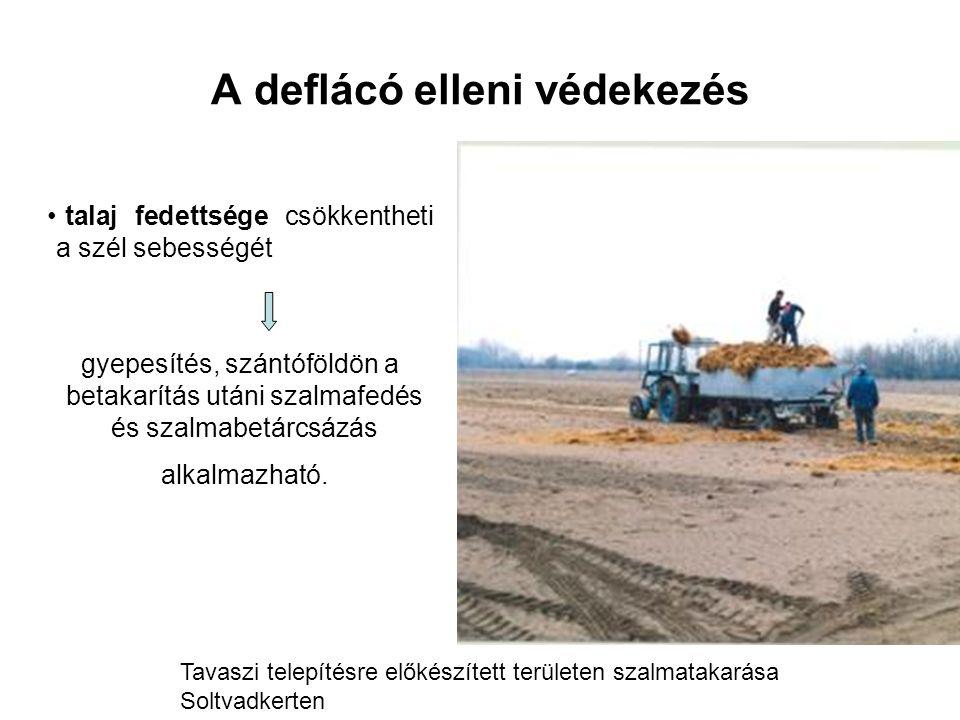 A deflácó elleni védekezés talaj fedettsége csökkentheti a szél sebességét gyepesítés, szántóföldön a betakarítás utáni szalmafedés és szalmabetárcsázás alkalmazható.