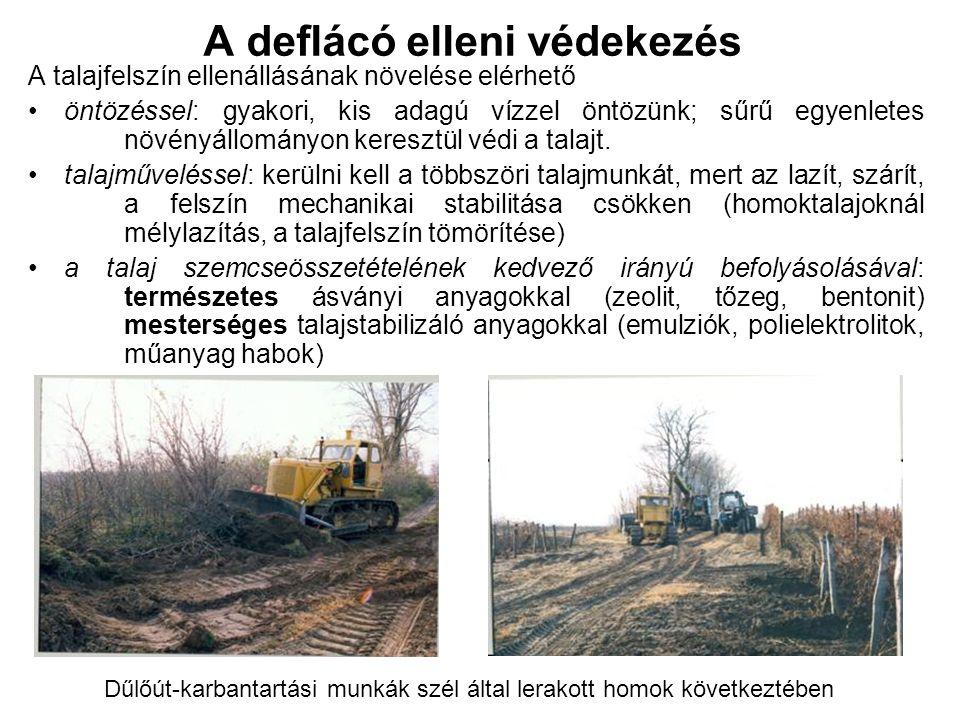 A deflácó elleni védekezés A talajfelszín ellenállásának növelése elérhető öntözéssel: gyakori, kis adagú vízzel öntözünk; sűrű egyenletes növényállományon keresztül védi a talajt.
