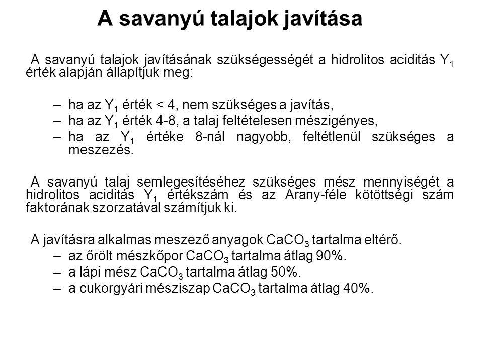 A savanyú talajok javítása A savanyú talajok javításának szükségességét a hidrolitos aciditás Y 1 érték alapján állapítjuk meg: –ha az Y 1 érték < 4, nem szükséges a javítás, –ha az Y 1 érték 4-8, a talaj feltételesen mészigényes, –ha az Y 1 értéke 8-nál nagyobb, feltétlenül szükséges a meszezés.