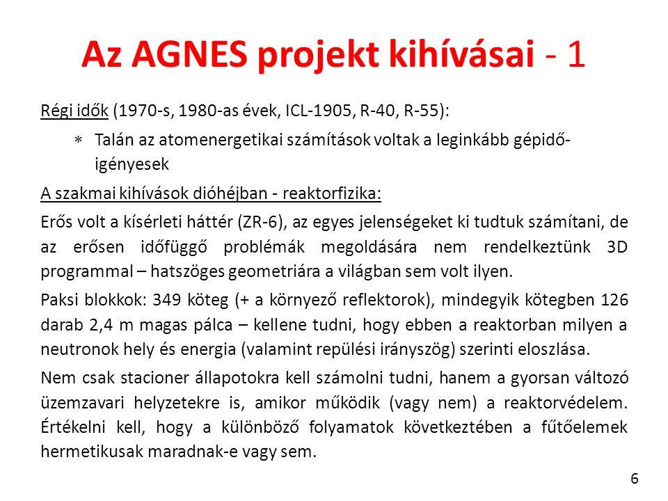 Az AGNES projekt kihívásai - 1 Régi idők (1970-s, 1980-as évek, ICL-1905, R-40, R-55):  Talán az atomenergetikai számítások voltak a leginkább gépidő- igényesek A szakmai kihívások dióhéjban - reaktorfizika: Erős volt a kísérleti háttér (ZR-6), az egyes jelenségeket ki tudtuk számítani, de az erősen időfüggő problémák megoldására nem rendelkeztünk 3D programmal – hatszöges geometriára a világban sem volt ilyen.