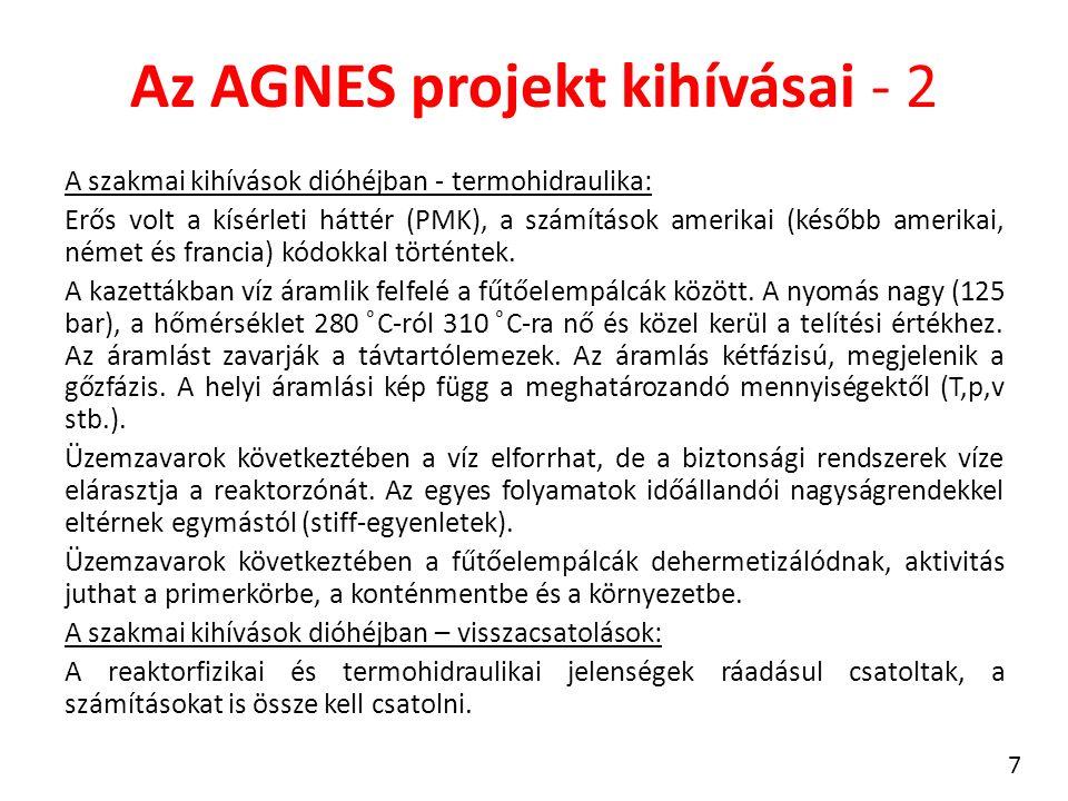 Az AGNES projekt kihívásai - 2 A szakmai kihívások dióhéjban - termohidraulika: Erős volt a kísérleti háttér (PMK), a számítások amerikai (később amerikai, német és francia) kódokkal történtek.