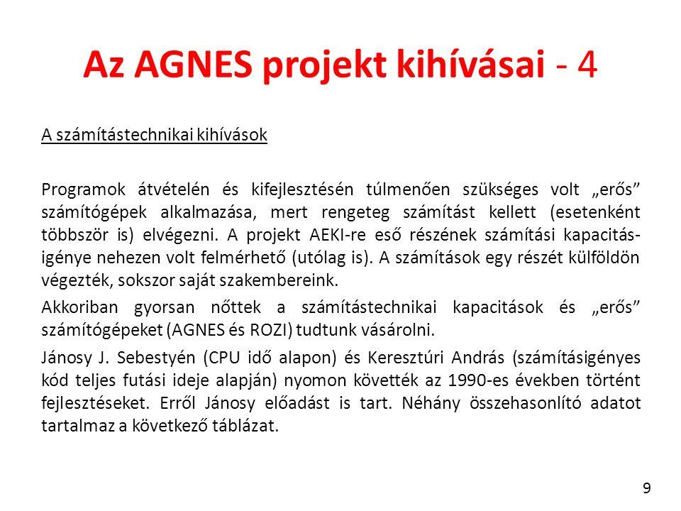 """Az AGNES projekt kihívásai - 4 A számítástechnikai kihívások Programok átvételén és kifejlesztésén túlmenően szükséges volt """"erős számítógépek alkalmazása, mert rengeteg számítást kellett (esetenként többször is) elvégezni."""
