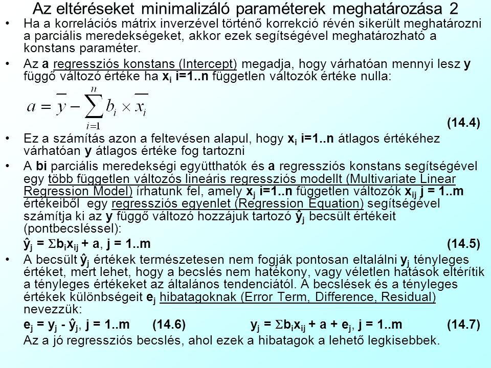 Az eltéréseket minimalizáló paraméterek meghatározása 2 Ha a korrelációs mátrix inverzével történő korrekció révén sikerült meghatározni a parciális meredekségeket, akkor ezek segítségével meghatározható a konstans paraméter.