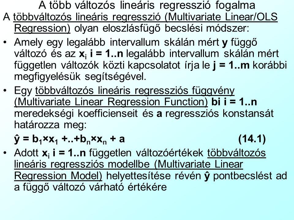 A több változós lineáris regresszió fogalma A többváltozós lineáris regresszió (Multivariate Linear/OLS Regression) olyan eloszlásfügő becslési módszer: Amely egy legalább intervallum skálán mért y függő változó és az x i i = 1..n legalább intervallum skálán mért független változók közti kapcsolatot írja le j = 1..m korábbi megfigyelésük segítségével.
