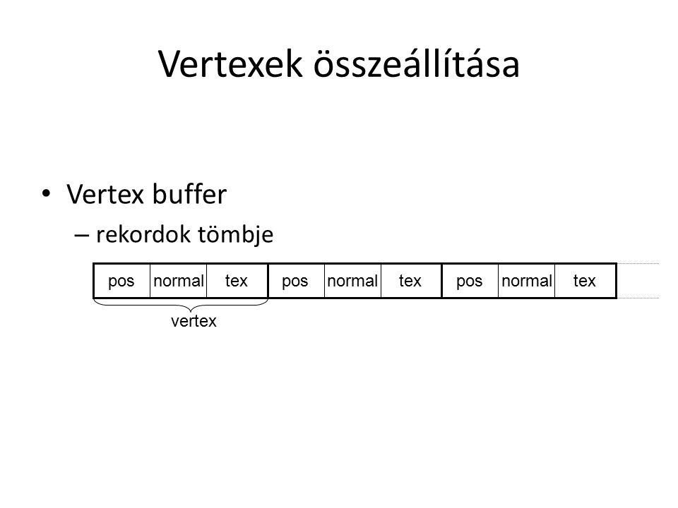 Vertexek összeállítása Vertex buffer – rekordok tömbje posnormaltexposnormaltexposnormaltex vertex