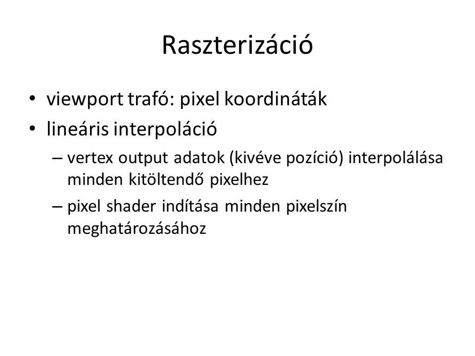 Raszterizáció viewport trafó: pixel koordináták lineáris interpoláció – vertex output adatok (kivéve pozíció) interpolálása minden kitöltendő pixelhez – pixel shader indítása minden pixelszín meghatározásához