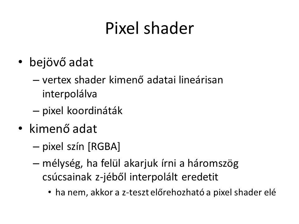 Pixel shader bejövő adat – vertex shader kimenő adatai lineárisan interpolálva – pixel koordináták kimenő adat – pixel szín [RGBA] – mélység, ha felül akarjuk írni a háromszög csúcsainak z-jéből interpolált eredetit ha nem, akkor a z-teszt előrehozható a pixel shader elé