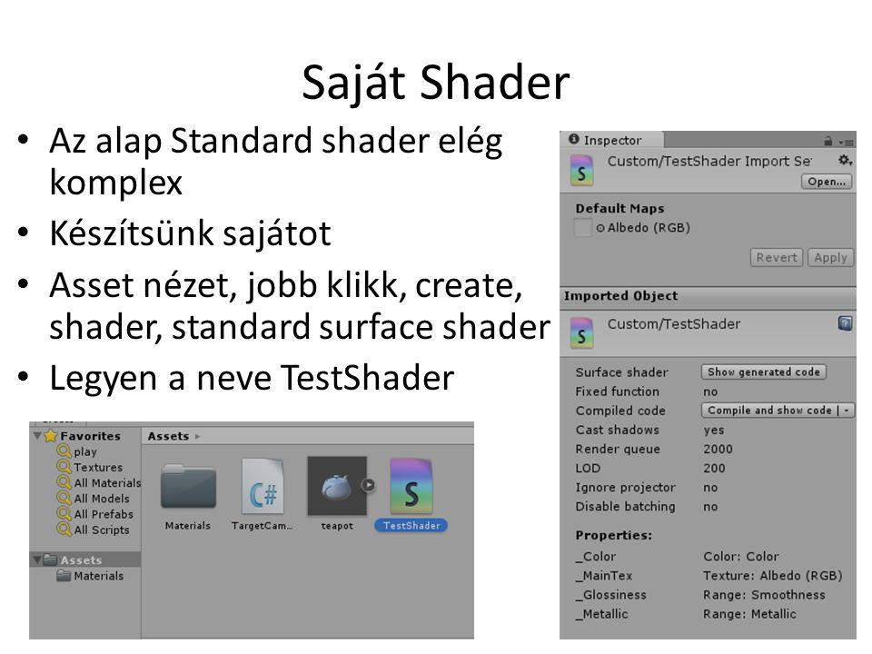 Saját Shader Az alap Standard shader elég komplex Készítsünk sajátot Asset nézet, jobb klikk, create, shader, standard surface shader Legyen a neve TestShader