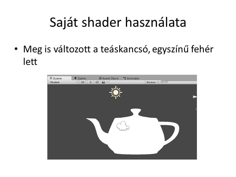 Saját shader használata Meg is változott a teáskancsó, egyszínű fehér lett