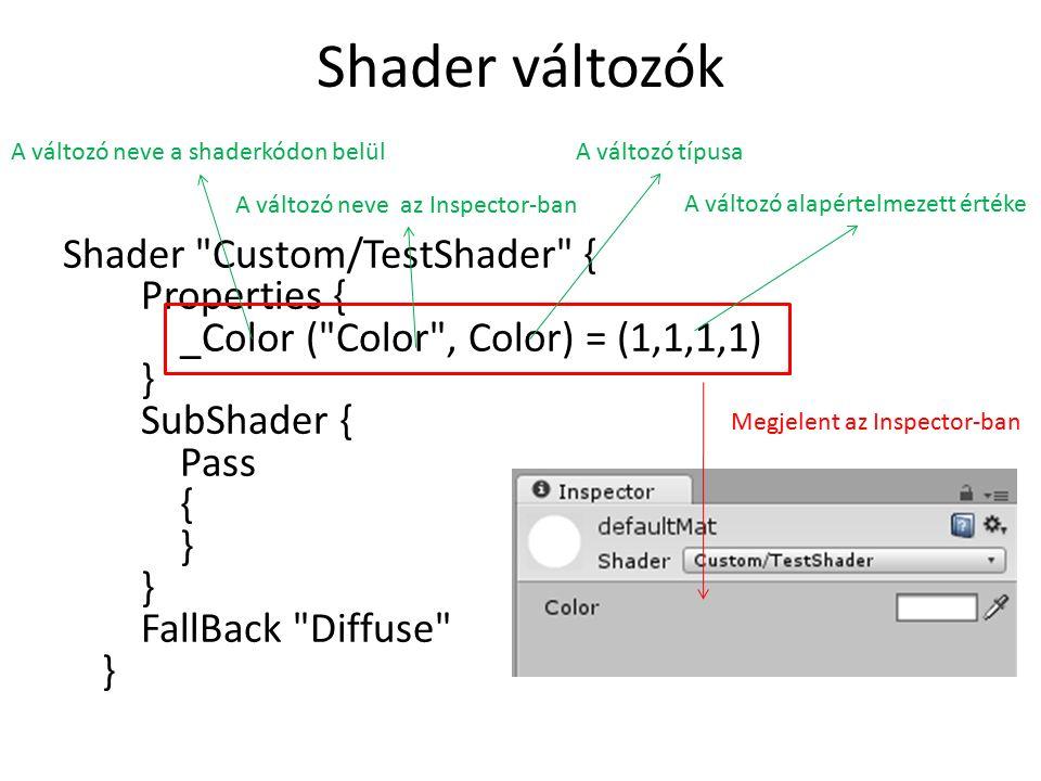Shader változók Shader