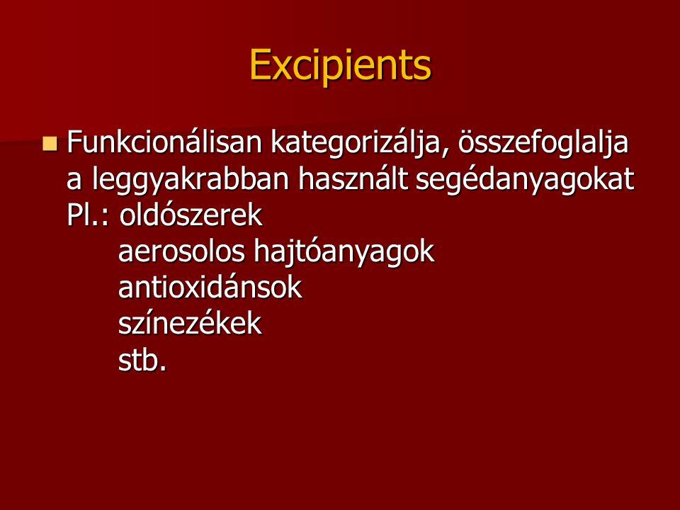 Excipients Funkcionálisan kategorizálja, összefoglalja a leggyakrabban használt segédanyagokat Pl.: oldószerek aerosolos hajtóanyagok antioxidánsok színezékek stb.