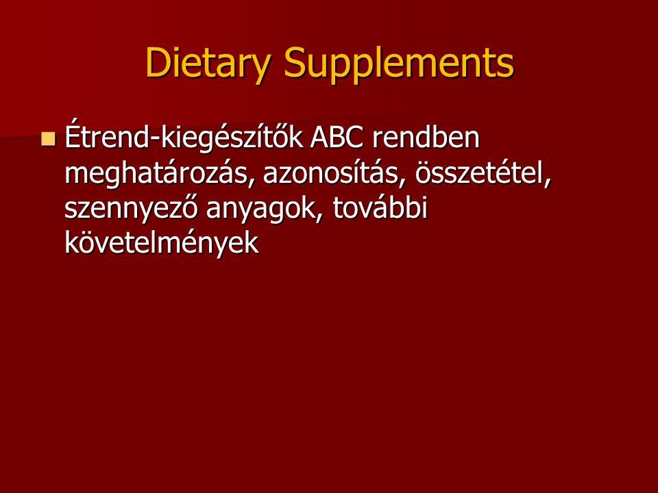 Dietary Supplements Étrend-kiegészítők ABC rendben meghatározás, azonosítás, összetétel, szennyező anyagok, további követelmények Étrend-kiegészítők A