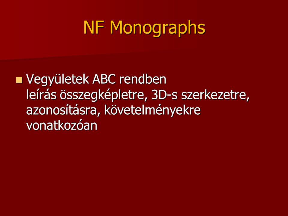NF Monographs Vegyületek ABC rendben leírás összegképletre, 3D-s szerkezetre, azonosításra, követelményekre vonatkozóan Vegyületek ABC rendben leírás